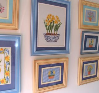 cross stitch pictures and ribbon embroidery that i stitched years ago some in blue frames this pic was just for you cee