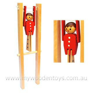 Acrobat boy wooden squeeze toy, link HERE , via My Wooden Toys .