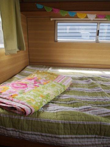 Vintage caravan sleeping