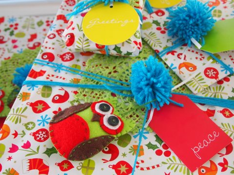 Handmade christmas gift wrapping
