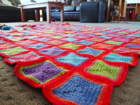 Crochet blanket close up