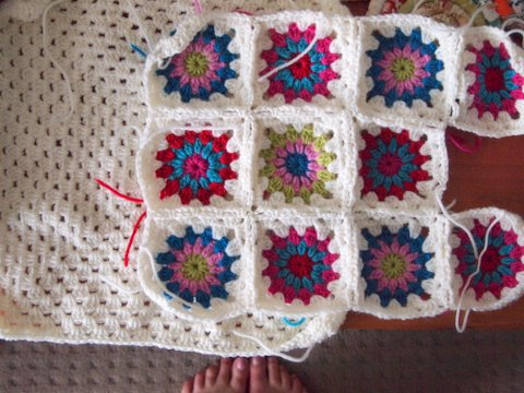 Crochet starburst cushion