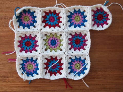 Star burst crochet cushion