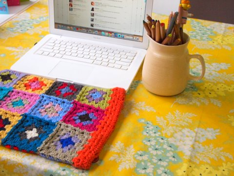 Granny square crochet laptop cover