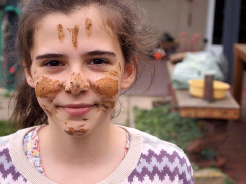 Mud face painting