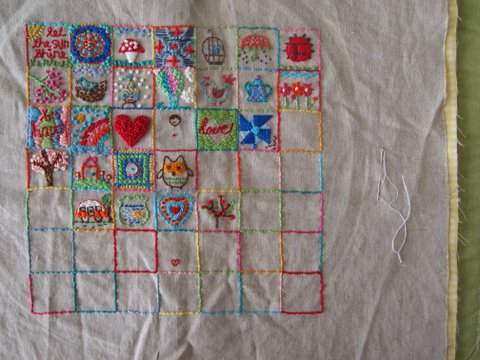 Square embroidery sampler