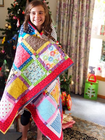 Bella's new patchwork quilt