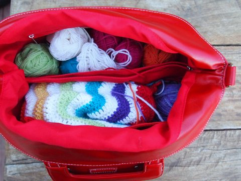 Namaste knitting bag inside