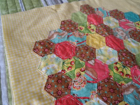 Hexagon fabric pillow