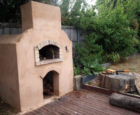 Wood fired oven backyard