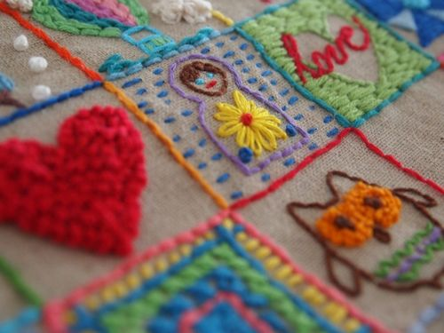 49 square embroidery sampler