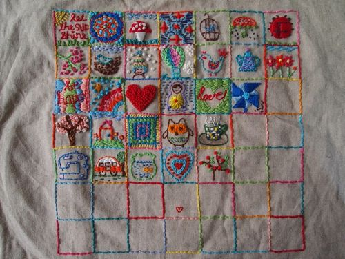 Embroidery sampler squares