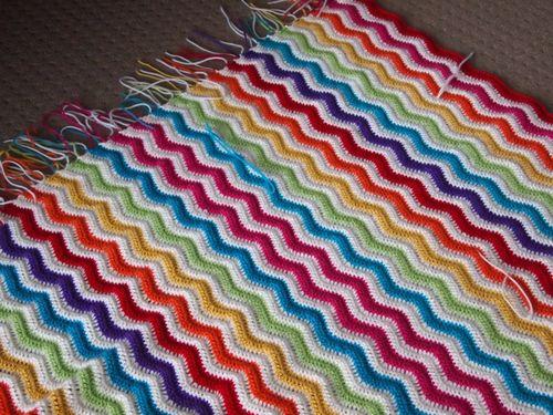 Crochet ripple rainbow blanket
