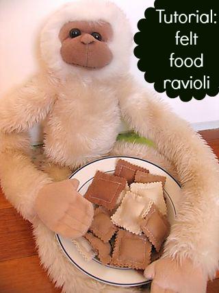 Felt food ravioli