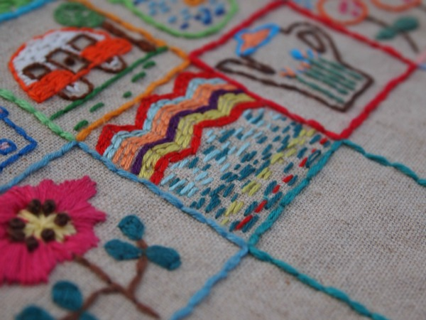 Embroidery square sampler