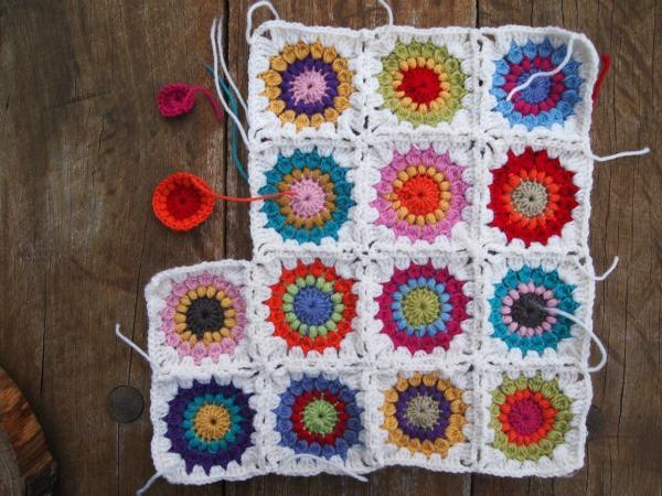 Starburst crochet cushion