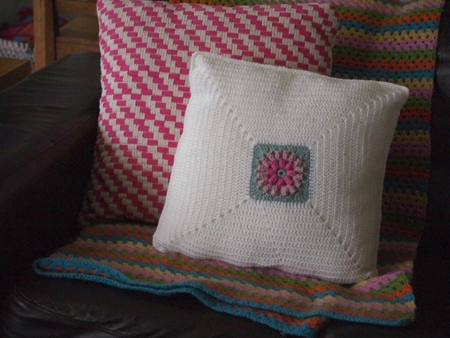 Crochet popcorn cushion