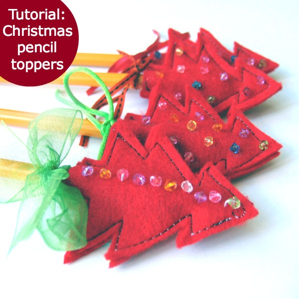 Tutorial christmas pencil toppers