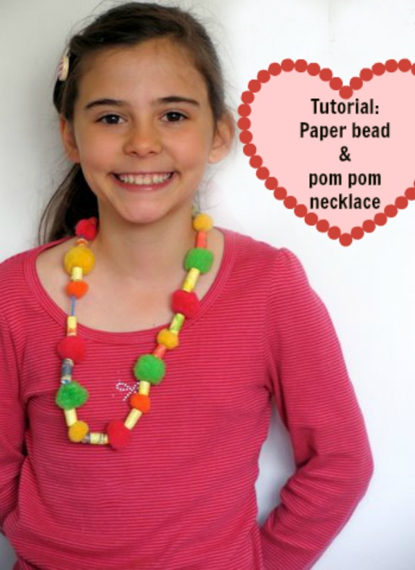 Paper bead and pom pom necklace