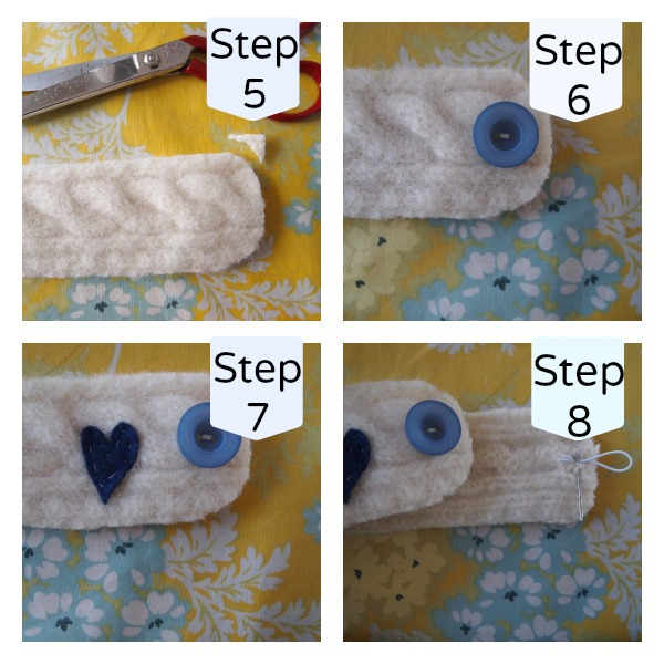 Felted mug cosy steps