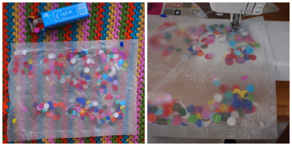 Making confetti wrapping paper