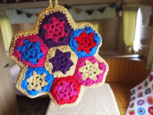 Decorating caravan interior crochet pot holder