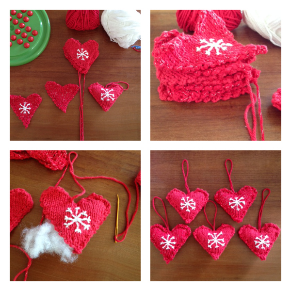 Christmas knitted hearts