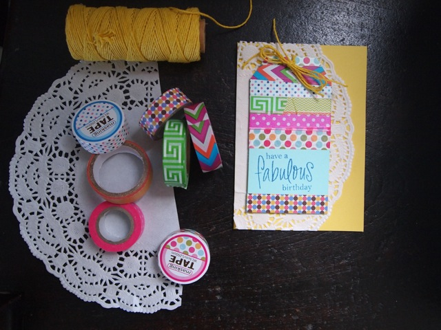 Washi tape birthday card easy
