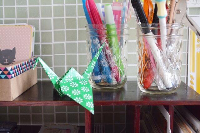 Origami cranes paper
