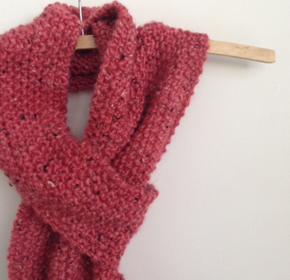 Moss stitch loop scarf 1