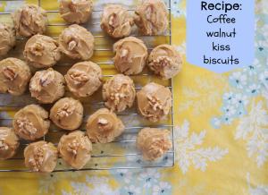 Coffee walnut kiss biscuits
